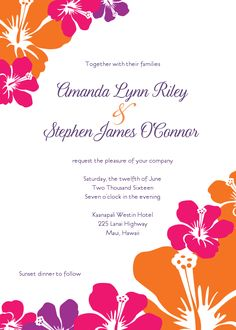 Hawaiian Beach Flower Printable Wedding Invitations From The Printable  Wedding