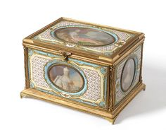 A Viennese Ormolu and Enamel Miniature Mounted Table Casket, late 19th century, of rectangular form, the hinged lid centred by an oval miniature depicting Princess Victoria (daughter of Louis XV) as Diana the Huntress, signed Drouis, within rose trellis, scrolls and musical instrument trophy - See more at: http://www.tennants.co.uk/Catalogue/Lots/129151.aspx#image