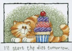 Buy Diet Tomorrow! Cross Stitch Kit Online at www.sewandso.co.uk