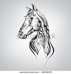 Mustang Horse Head Silhouette | Silhouette of a horse in the patterns of. Vector illustration