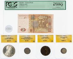 Lot 80: World: Coin and Currency Assortment; Four ANACS graded coins including a 1792-W 2S France Lille Mint VF-30, 1787-So, DA 1R Chile Fair 2, 1780 THAL Austria Restrike MS-67, 1708IMW 2A Billion 2 Albus VF-30 and a 2011 2 Hryven 67PPQ PCGS