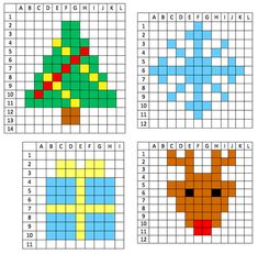 Find your way around a grid (CP) - All For Home İdeas Melty Bead Patterns, Perler Patterns, Beading Patterns, Pixel Art Noel, Cross Stitch Designs, Cross Stitch Patterns, Christmas Fair Ideas, Modele Pixel Art, Graph Paper Art