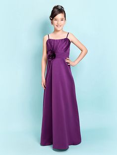 Lanting Bride® Floor-length Satin Junior Bridesmaid Dress A-line / Sheath / Column Spaghetti Straps Natural withFlower(s) / Sash / Ribbon - USD $59.99