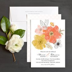 Floral Watercolor Wedding Invitations by Emily Crawford | Elli