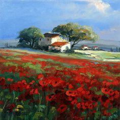 Poppy near Bonnieux Landscape Art, Landscape Paintings, Poppies, Oil On Canvas, Art Projects, Arts And Crafts, Sketches, Miniature, Provence