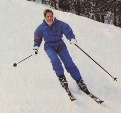 Diana skiing Lech Austria 1992. She was a very competent skier, as well as being excellent at swimming, diving, and a very accomplished tennis player.