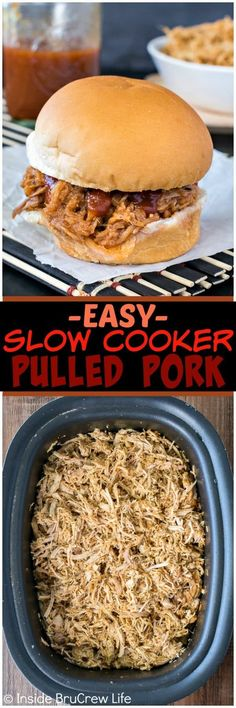 Easy Slow Cooker Pulled Pork - add a pork tenderloin rubbed with seasonings to your crock pot for a delicious summer dinner! Great recipe to have ready after a long or busy day!