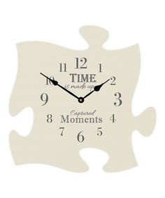 Loving this 'Time' Puzzle Piece Wall Clock on #zulily! #zulilyfinds