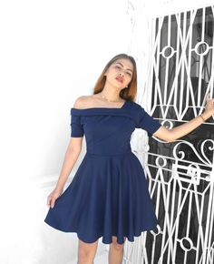 model's height: is wearing: Small Navy Bluefabric: ITY stretchlength: 33 inches (from shoulder to hem)lined: yesbust pads: none zippered back Swing Dress, Hemline, Shoulder, Clothing, Model, How To Wear, Dresses, Fashion, Outfits