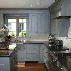 Blue Gray Kitchen Cabinets, Contemporary, kitchen, Graciela Rutkowski Interiors