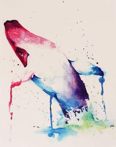 Whale Watercolor Print of Original Artwork by CirqueDeCearle, $8.00