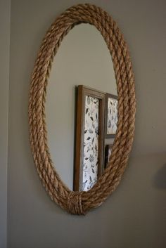 """Frame"" a cheap IKEA mirror with textured rope"