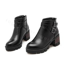 HOT Womens Med Heel Ankle Boots Chunky Grip sole Buckle Shoes UK Size GDXS0016