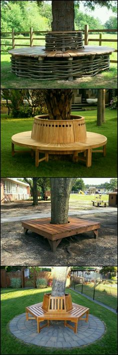 Do you have a favorite park where you love to spend a warm afternoon sitting under the shade of a tree? Wouldn't it be nice to create that atmosphere in your own yard? A tree bench will make it a re (Diy Garden Furniture) Backyard Projects, Outdoor Projects, Garden Projects, Diy Projects, Woodworking Projects, Project Ideas, Woodworking Plans, Outdoor Spaces, Outdoor Living