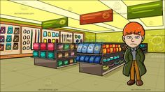A Sleepy Mod Man At Inside A Pet Store:  A man with orange hair wearing a gray collared shirt mustard yellow pants brown shoes a green long coat frowns while placing both hands in his pockets. Set in inside a pet shop with pale brown shelves that displays multiple items in individual colored packages paneled yellow ceiling green and orange aisle markers a yellow green wall with pet design and wall shelves that displays pet accessories and food.  #food #eat #clipart #cartoon #illustration…