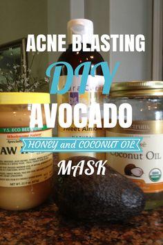 Máscara facial para el acné con la miel, el aceite de coco y aguacate