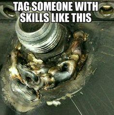 #weldfail #fail #welding #weld #westcoweld #ukwelding #weldporn #weldart Funny Mechanic Memes, Truck Mechanic, Mechanic Shop, Funny Car Memes, Car Humor, Foto Fails, Welder Humor, Welding Funny, Welded Art
