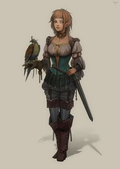 Falconer by telthona female elf ranger commoner nobility hunter Fantasy Races, High Fantasy, Fantasy Warrior, Fantasy Rpg, Medieval Fantasy, Elf Warrior, Dnd Characters, Fantasy Characters, Female Characters
