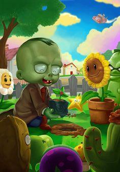 Planting Friendship (Plants Vs. Zombies) by bonify