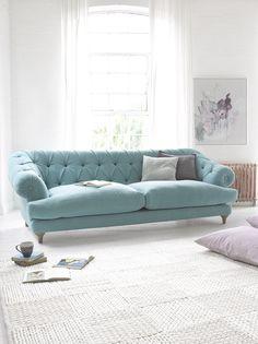Bagsie sofa in our Ocean vintage linen