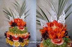 fruit carving cake tower