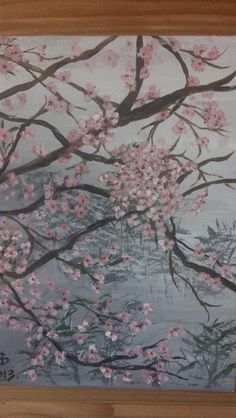 Acrylic art painting of cherry blossoms. $35.00, via Etsy.