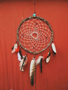 LARGE Traditional Willow Frame Dream Catcher $45.00  Handcrafted With 100% Cruelty Free Materials | Accented With Faux Turquoise Stones, Red, Wood, And Silver Beads And Copper Wire | Displays White, Cream, Brown, Black, Red Feathers & One Large Naturally Shed Hawk Feather | 26.5 Inch Height | 14 Inch Width | Natural Willow Frame |