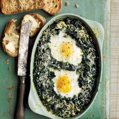 Florentine spinach baked with eggs and cream