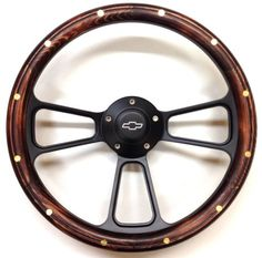 "14"" MUSCLE BLACK w/ Real Pine Wood Half-Wrap & Chevy Horn Button"