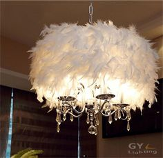 99.99$  Buy now - http://alids4.worldwells.pw/go.php?t=32750475571 - Modern Art Decor feather lampshade Lustres chandelier moderno crystal changing lighting white luminaire suspendu hanging lamp 99.99$