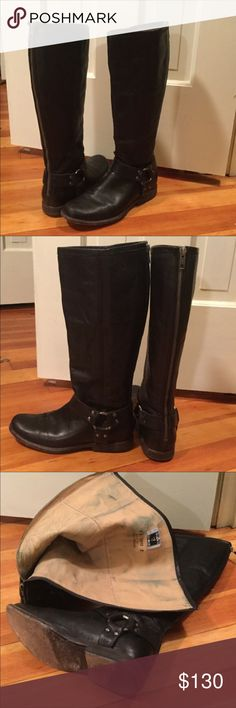 FRYE Phillip Harness Black boots ❤️offers welcome Beautiful pair of FRYE harness Phillip boots. Size 7. Blue spotting inside. Smoke free home.  Next day shipping. Please feel free to ask any questions. Thank you for shopping my closet. Offers always welcome❤️ Frye Shoes