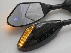Blue LED Integrated Turn Signal Mirror For Kawasaki Ninja ZX6R ZX10R ZX12R 250R Honda CBR 600 1000 RR F4i 600RR Yamaha YZF R1 R6 R6S Fazer FZR 600 Suzuki GSXR 600 750 1000 1300 Bandit (708715569019) Housing Color: Black; Lens Color: Smoke;  Mirror size : L 5 '' x W 2 7/8 '' (12.7 cm X 7.3 cm) Material: High Quality ABS Plastic; Back side with built-in LED Turn Signal (Color : Amber) Includes Three Blue through mirror turn signal LEDs on each mirror side;  Two Wires Connection for 12V ...