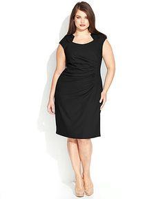 Calvin Klein Plus Size Cap-Sleeve Cutout-Neckline Sheath - Plus Size Dresses - Plus Sizes - Macy's