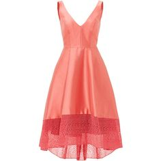 Rental ML Monique Lhuillier Coral Spiderweb Dress ($100) ❤ liked on Polyvore featuring dresses, pink, v-neck dresses, sleeveless v neck dress, pink dress, coral dress and ml monique lhuillier dress