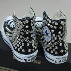 Genuine CONVERSE Black with studs   chains All-star Chuck Taylor Sneakers  Sheos a3a27d895