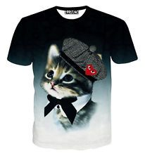 Fashion Women's Men's Hat Lady Cat 3D Print Short Sleeve Funny T-shirt Tee Top