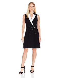 Calvin Klein Womens Petite Color Block Wrap Dress BlackWhite 2 Petite -- You can get more details by clicking on the image.