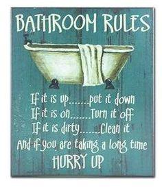Found it at Wayfair - Bathroom Rules Textual Art Plaque Bathroom Rules, Bathroom Wall Decor, Bathroom Ideas, Garage Bathroom, Bathroom Humor, African American Expressions, Typography Prints, Diy Wall Art, New Wall