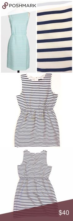 """J. Crew striped navy and white sundress J. Crew striped navy and white sundress. Hidden back zipper. Fully lined. Length is approx 34"""" from shoulder to hem. Great pre-loved condition J. Crew Factory Dresses"""