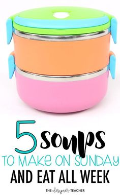 Teachers, make lunches for the week easy with 5 soups you can make on Sunday and eat all week! {from The Designer Teacher} Healthy Lunches For Work, Snacks For Work, Healthy Snacks, Work Lunches, Healthy Eating, Healthy Dinners, Healthy Recipes, School Lunch Recipes, School Lunches