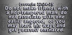 Do not befriend an angry man. Do not associate with a man who throws fits. If you do you will learn his ways and you will become trapped. Whatsoever Things Are True, Proverbs 27, Jesus Girl, Favorite Bible Verses, Daily Devotional, Bible Quotes, Peace And Love, Cool Words, Quote Of The Day