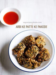 Arbi Patta Pakoda Recipe - Crisp and tasty pakoras made with colocasia leaves, gram flour (besan) and spices.