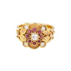Love, Adorned : CHAD YPON RUBY & DIAMOND FLOWER RING