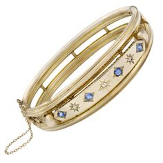 Late Victorian English Bangle with Sapphires and Diamonds | From a unique collection of vintage bangles at http://www.1stdibs.com/jewelry/bracelets/bangles/