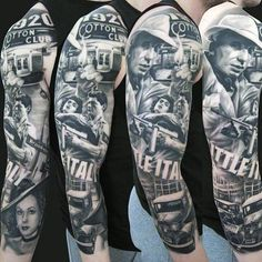 Full Sleeve Gangster Themed Tattoos For Males