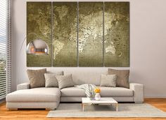 Retro world map canvas print art drawing on old wall watercolor large wall art world map canvas print large world map wall art living room panel art canvas print vintage world map old world map gumiabroncs Choice Image
