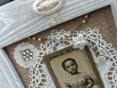 Shabby Chic Frame, Vintage Assemblage, Mixed Media Frame, CDV, Doily, Rhinestone, Metal, Button, Rosary, Handmade Frame, White Wood Frame