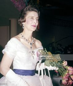 Princess Marina, the Duchess of Kent, attending a ball at Grosvenor House in London on 26th April 1961. This image is one of a series taken by Ray Bellisario who was credited with being the 'original paparazzo' and someone who frequently upset the Royal Family with his informal and often unwelcome style of photography.