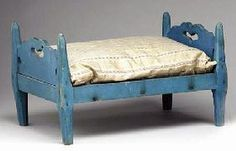 A BLUE-PAINTED DOLL BED LANCASTER COUNTY, PENNSYLVANIA, 1825-1845.