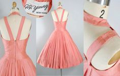 ♦ Sold on Reserve Only for KASEY, Pls. Do Not Buy! ♦ Sold on Reserve Only for KASEY, Pls. Do Not Buy! $159 Deposit: $50 = 1/25 2nd pymt. $40 = 2/15 ♦ Vintage 1950s Party Dress by Gigi Young, Which is a Sister Label to Suzy Perette. Additional Info, Pls. Visit the Vintage Fashion Guild Link Below. http://vintagefashionguild.org/label-resource/gigi-young/ ♦ Constructed in a Pretty Pink, Polished Cotton Fabric. ♦ Amazing Lattice Crosshatch Neckl...